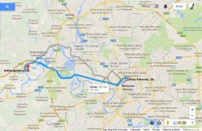 Archangelskoye - directions from Moscow Center