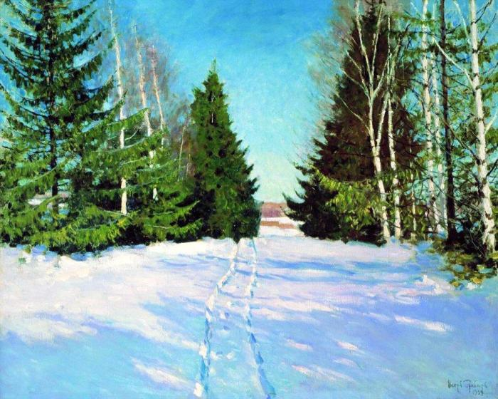 March, by Igor Grabar. The snow is still there. The light makes all the difference. No longer winter-crisp, it is now spring-warm.