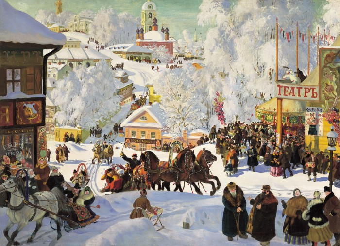 Maslenitsa, by Boris Kustodiev.  Pagan celebration of Sun and return of Spring take place through this day.