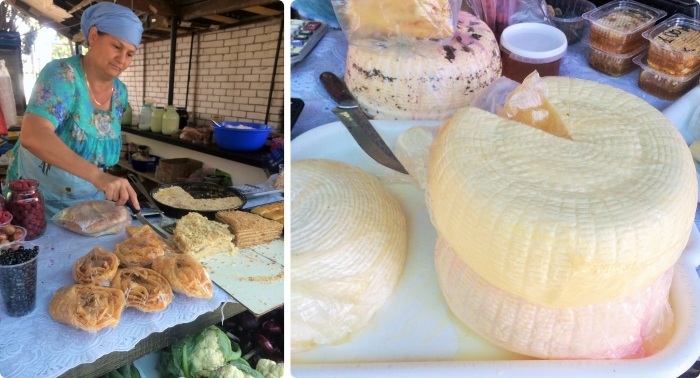 Homemade cakes and cheeses at the market in Novy Svet.